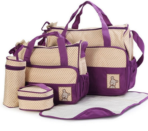 Purple Nappy Bag 5 Piece Set