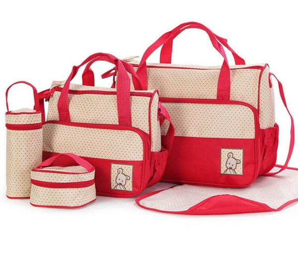 Red Nappy Bag 5 Piece Set