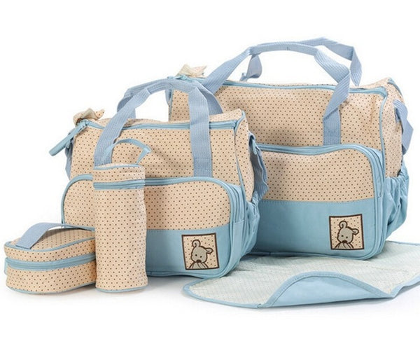 Baby Blue Nappy Bag 5 Piece Set