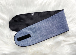 Gene (black satin) | denim satin lined wrap band