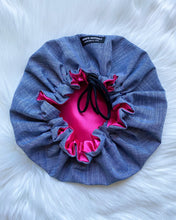 Gene (fuchsia satin) | denim satin lined drawstring bonnet