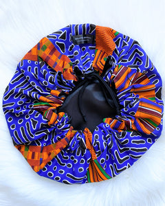 Lagos (blue) | satin lined drawstring bonnet
