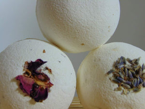 Beauty by Francesca display of 3 bath bombs, lavender, orange-rose and geranium