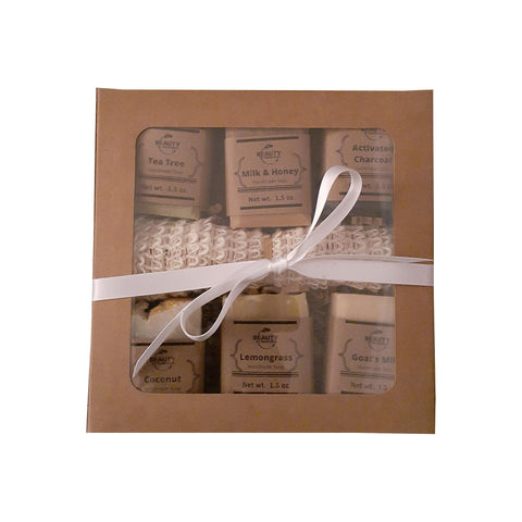 handmade soap gift set 6 bars in box with white ribbon