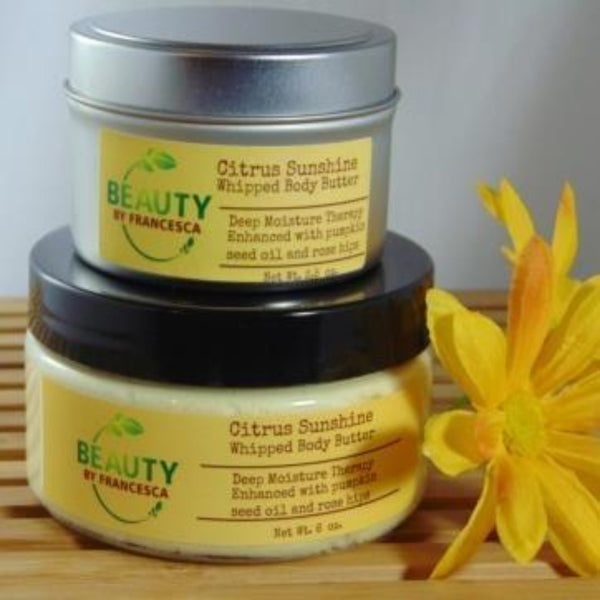 whipped body butter citrus sunshine 3 oz and 6 oz front view
