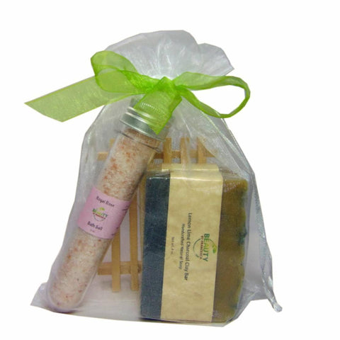 Handmade soap gift set - 2 bars, with wooden soap dish and  bath salt