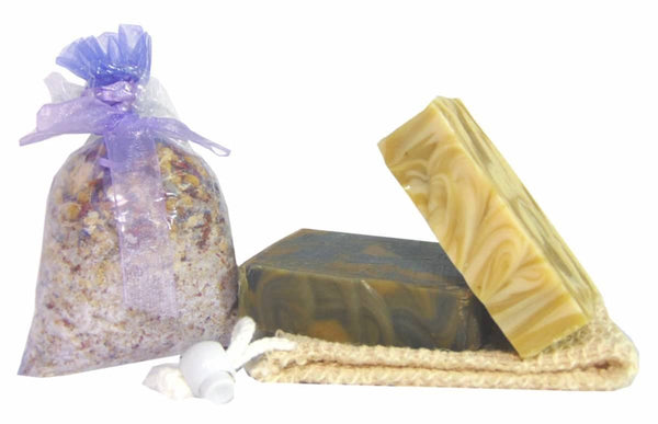 Handmade soap gift set with bath tea, soap and sisal
