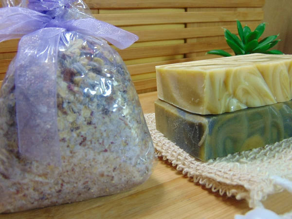 Handmade soap gift set with bath tea, soap and soap sisal side view