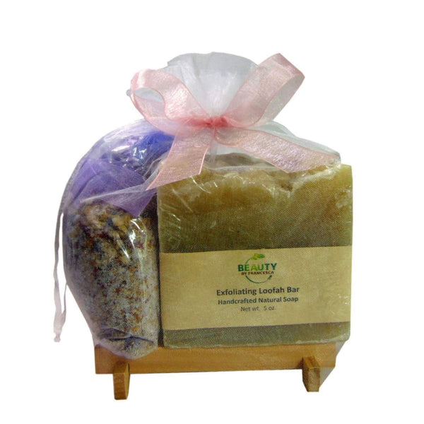 Handmade soap gift set with bath tea, soap and soap saver