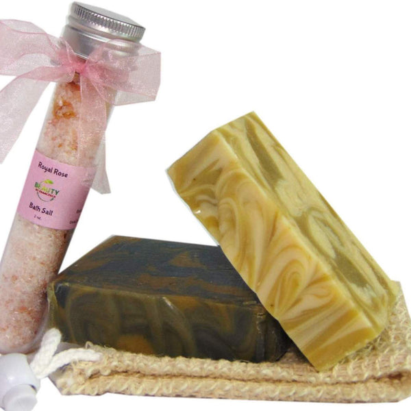 Handmade soap gift set with 2 bars, sisal and bath salt front view