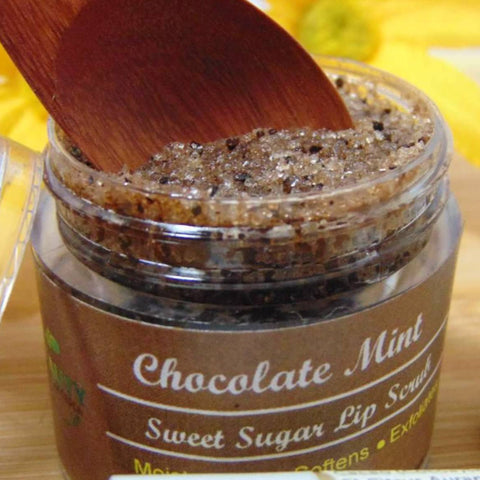 chocolate mint  lip scrub displayed with wooden spoon