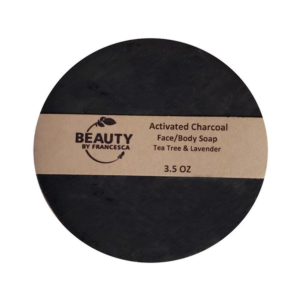 Beauty by Francesca Activated Charcoal Face and Body Soap Tea Tree and Lavender Scent