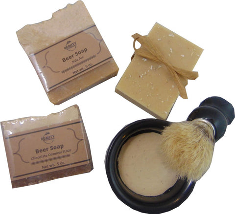 Beer Soap Gift Set with Shave Soap and Shave Brush