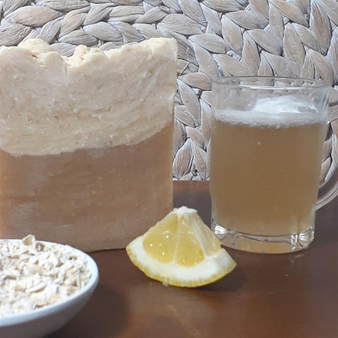 Beer Soap -Pale Ale IPA Beer Soap styled with beer , lemon and oats