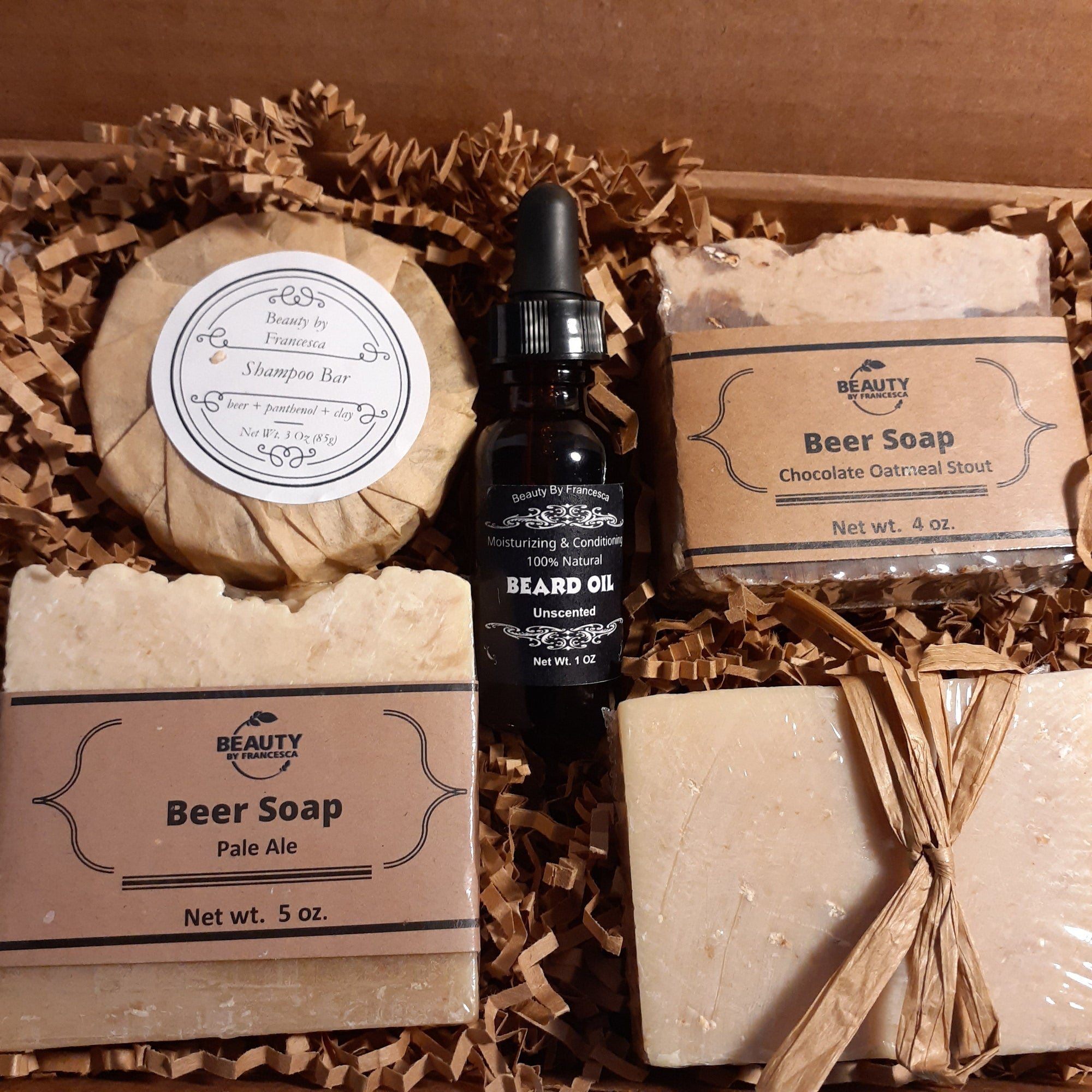 beer soap with beard oil gift set