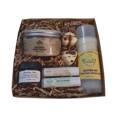 body scrub lip scrub gift set in kraft box