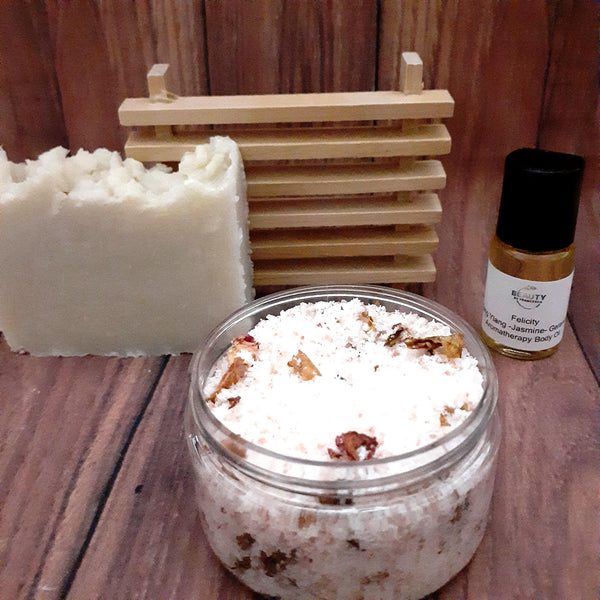 Handmade Soap Gift Set with coco shea soap, rose bath salt and aromatherapy body oil
