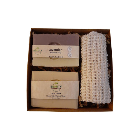 2 bar soap set with sisal -goat's milk and lavender open box