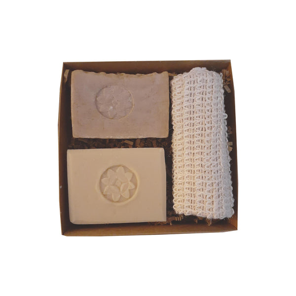 2 bar soap set with sisal -goat's milk and milk & hone