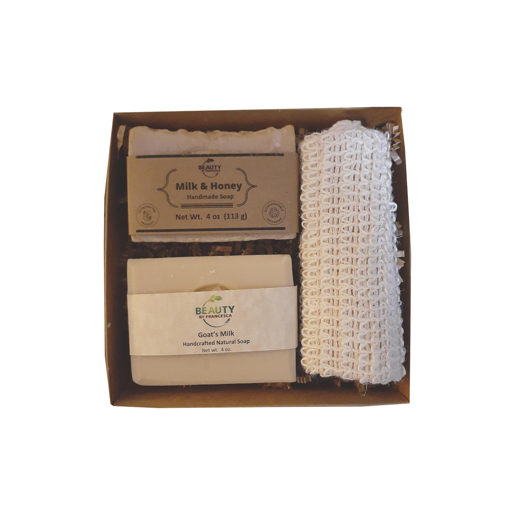 2 bar soap set with sisal -goat's milk and milk & honey open box