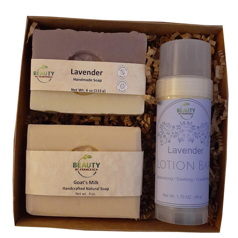 Handmade Soap Gift Set w/Lavender Lotion Bar - Goat's Milk & Lavender