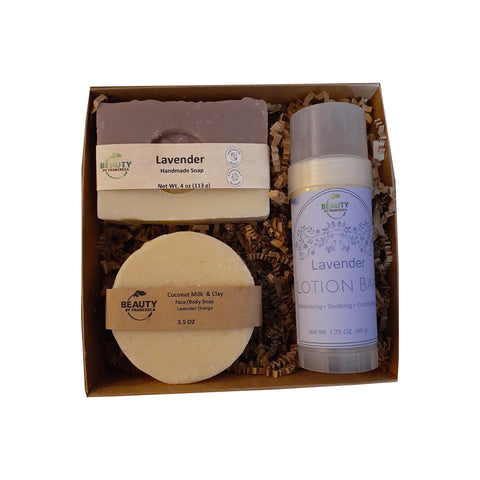 handmade soap gift set with lavender lotion bar, lavender soap and lavender orange soap top view