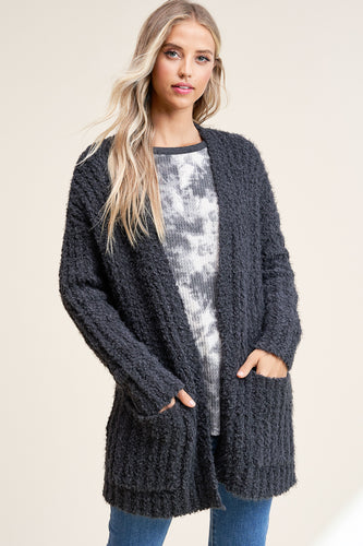Iced Out Cardigan- Charcoal