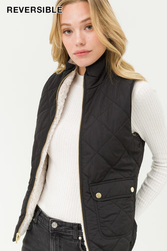 Black Reversible Sherpa Vest
