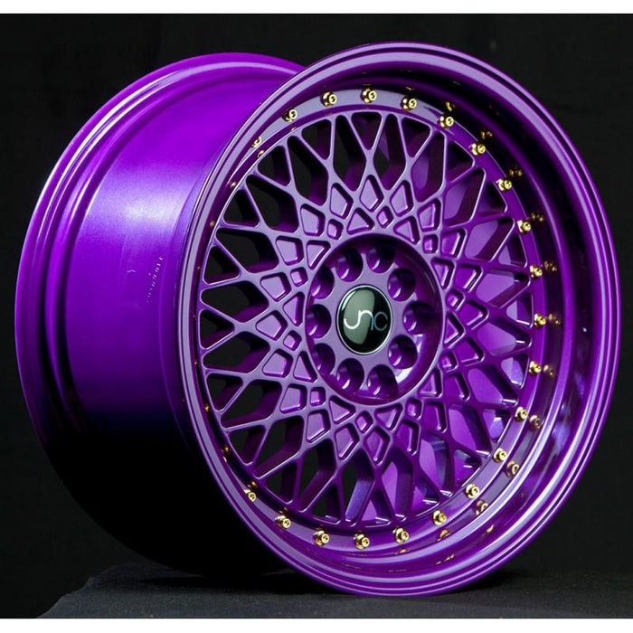 JNC031 Candy Purple Gold Rivets - JNC Wheels
