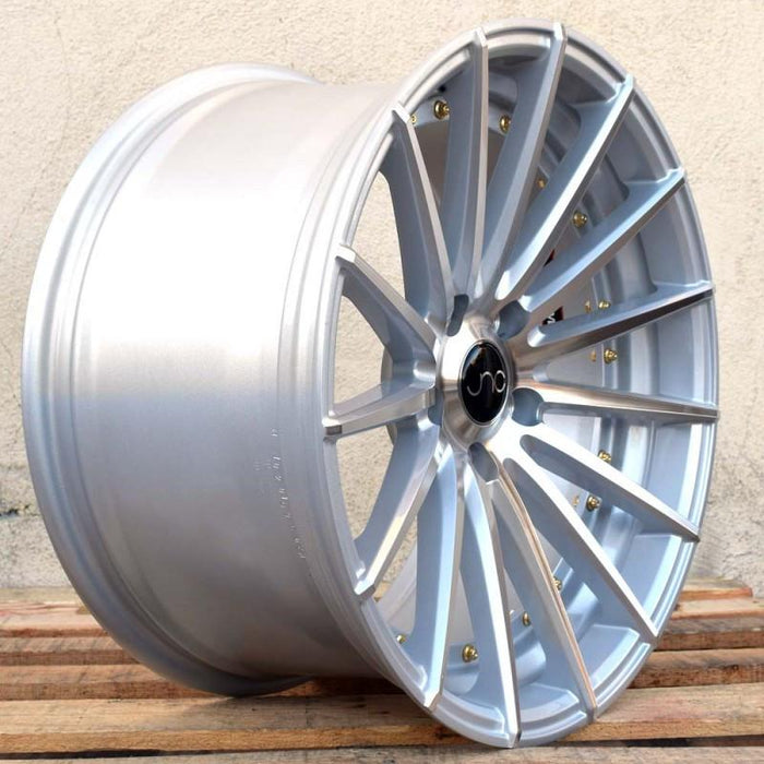 JNC042 Silver Machined Face Gold Rivets - JNC Wheels