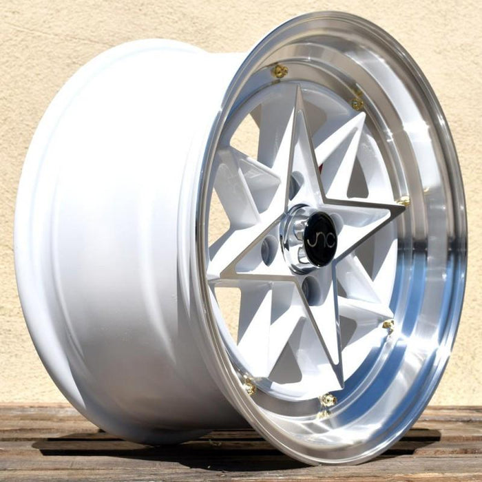 JNC025 White Machined Face Gold Rivets - JNC Wheels