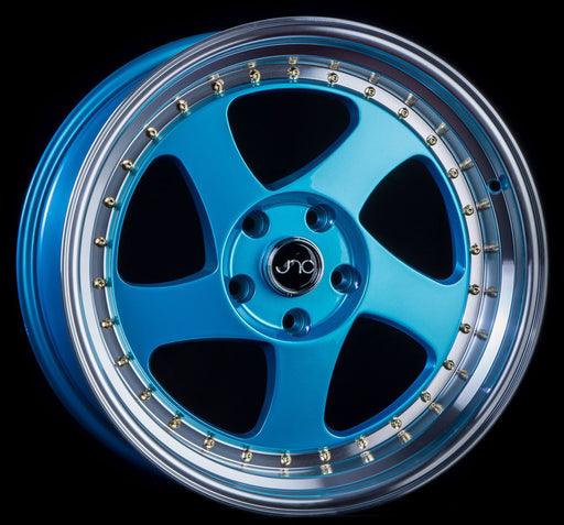 JNC034 Teal Blue Machine Lip Gold Rivets - JNC Wheels