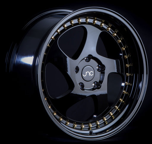 JNC034 Gloss Black Gold Rivets - JNC Wheels