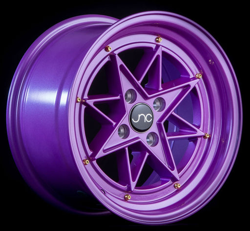 JNC025 Candy Purple Gold Rivets - JNC Wheels