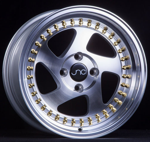 JNC034 Silver Machined Face Gold Rivets - JNC Wheels