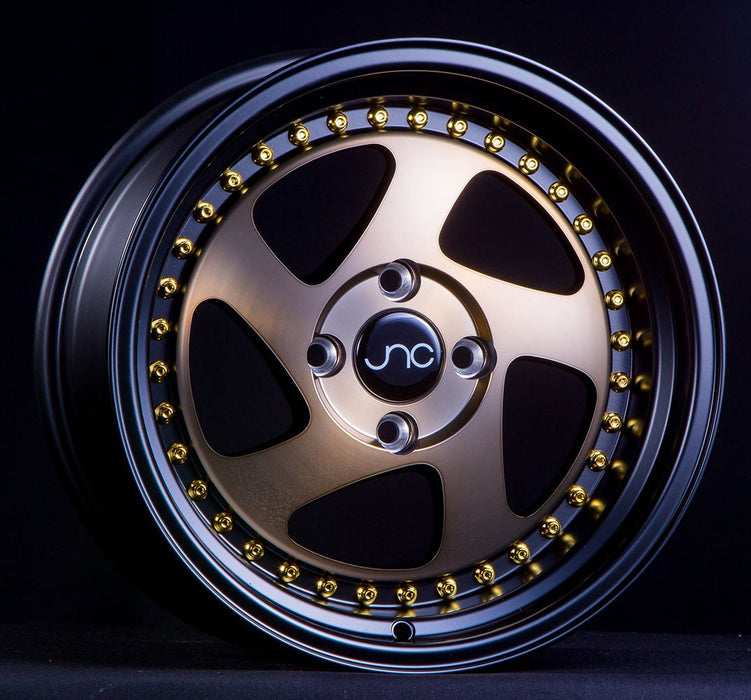 JNC034 Matte Bronze Black Lip Gold Rivets - JNC Wheels