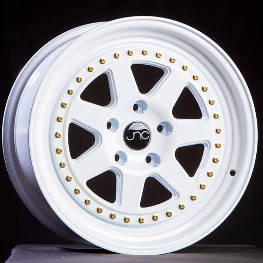 JNC048 WHITE WITH GOLD RIVETS - JNC Wheels