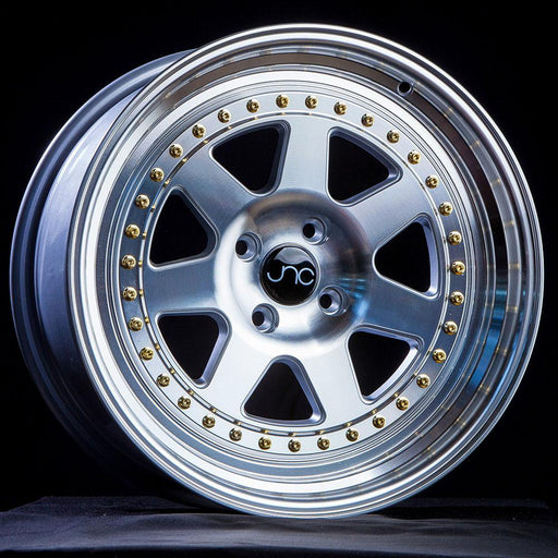 JNC048 SILVER MACHINE FACE GOLD RIVETS - JNC Wheels