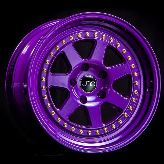 JNC048 CANDY PURPLE WITH GOLD RIVETS - JNC Wheels