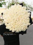 100 Long Stem White Roses