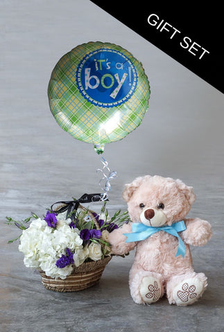 Blue Lullaby Basket with Teddy and Balloon
