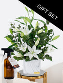 White Scented Lily Vase with a choice of our Fragrant Room Spray