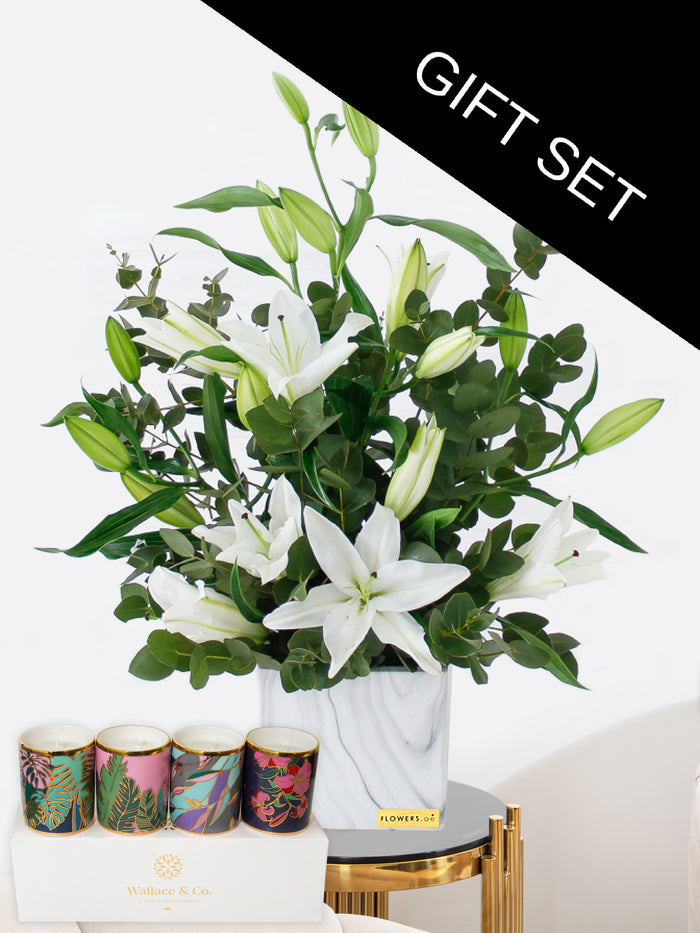 White Scented Lily Vase with Manzil Candle Collection in a Ceramic Glass set of 4