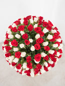 365 Long Stem Mix Red and White Roses hatbox