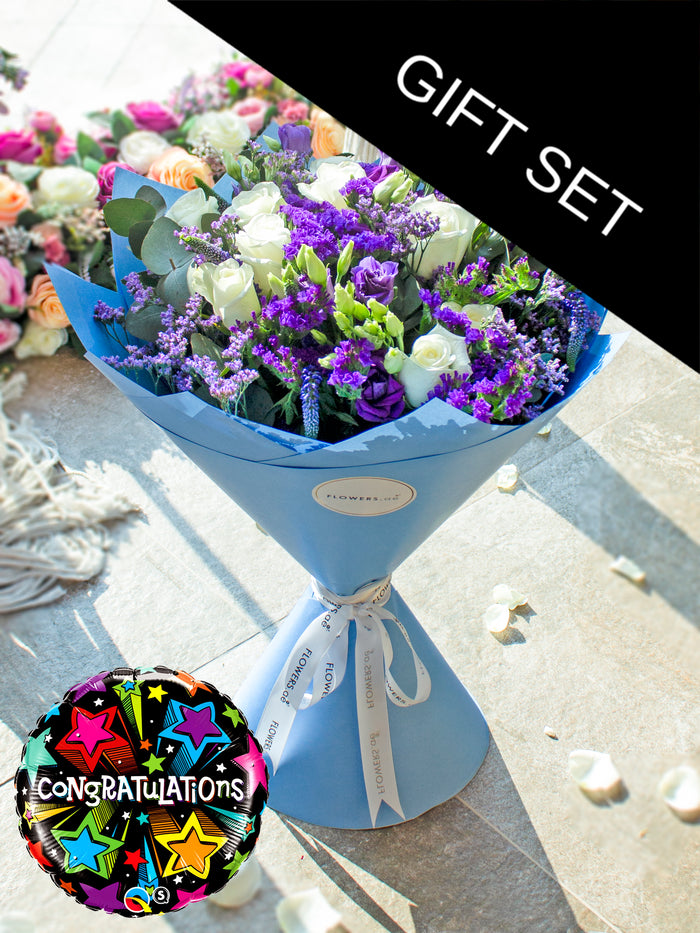 Purple Bliss Hand-tied  (Congratulations Gift Set)