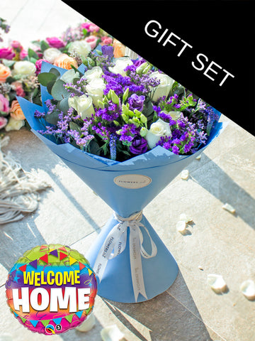 Purple Bliss Hand-tied  (Welcome Home Gift Set)