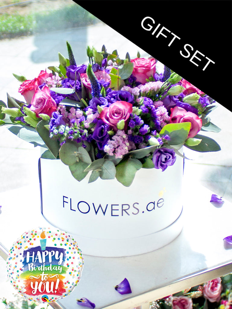Lavender Floral Hatbox with Birthday Balloon