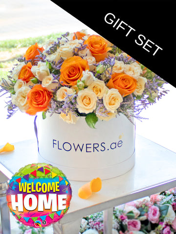 Tangerine Floral Hatbox (Welcome Home Gift Set)