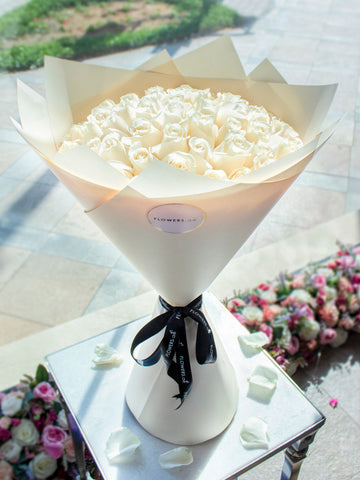 50 Long Stem White Rose Hand-tied