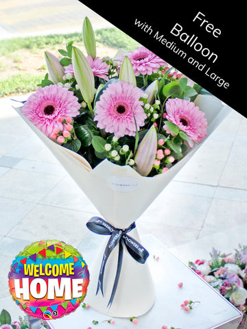 Pink Lily and Gerbera Hand-tied (Free Welcome Home Balloon with Upgrade)